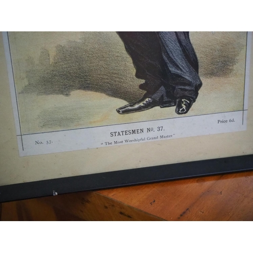 31 - A framed print of Lord Zetland, titled 'Statesmen No 37 - The Most Worshipful Grand Master'....