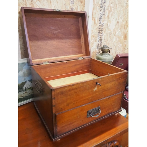 39 - An antique wooden box with drawer to base....