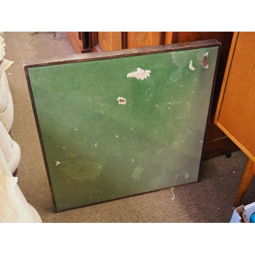41 - A vintage folding card table with green baize top....
