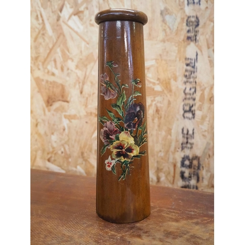 43 - An antique wooden kaleidoscope with hand painted floral design....