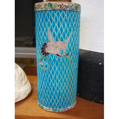 48 - A stunning antique Chinese/ Oriental vase with crane design....