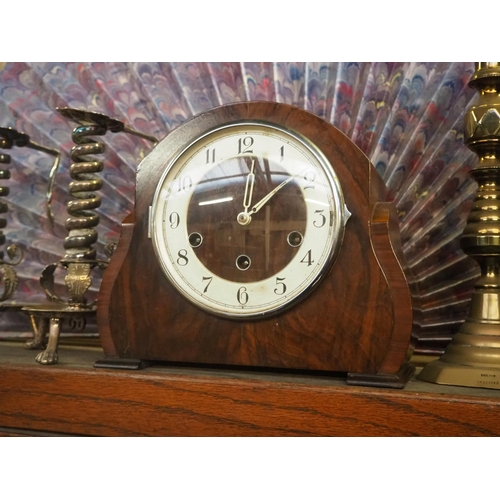 56 - An antique westminster chime mantle clock....