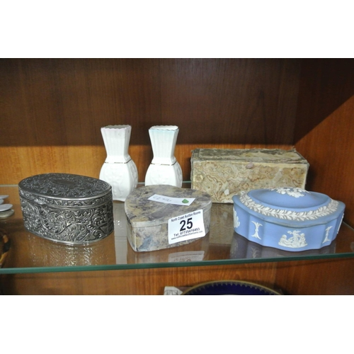 25 - A collection of trinket boxes, along with a pair of vases....