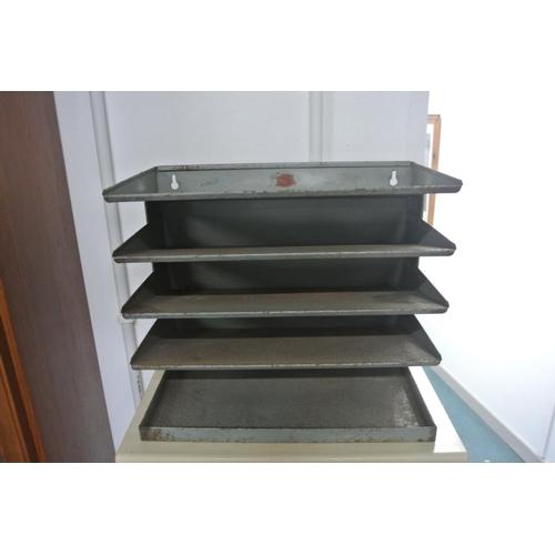 3 - A vintage/ retro industrial metal paper tray....