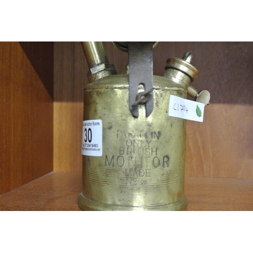 30 - A vintage brass Monitor paraffin blowtorch....