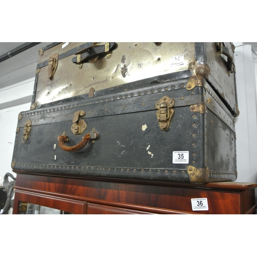 35 - A vintage steamer trunk/ chest....