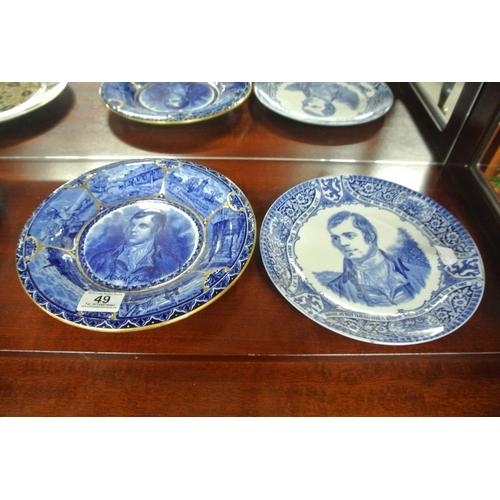 49 - A pair of antique Portrait plates, showing Robert Burns....
