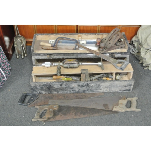 7 - A wooden carpenters toolbox with contents....