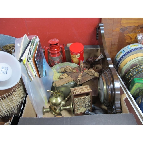 1008 - Wall Barometer, Renault, Beetle and Other Vehicle Brochures, circa 1960's, feeding birds toy, tins, ...