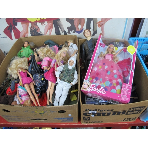1012 - Barbie, Action Man, Star Wars and Other Plastic Toys:- Two Boxes...