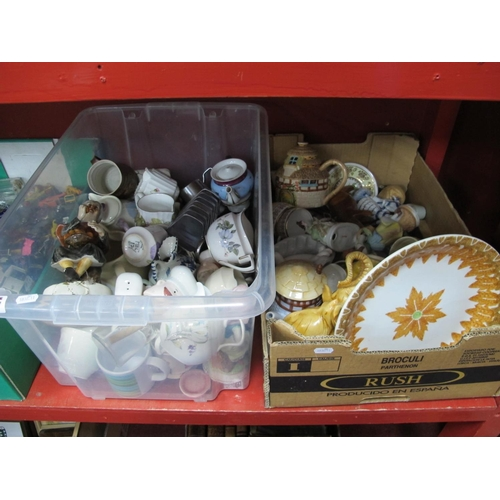 1017 - Pottery, cups, tea pots, jelly mold, Royal Albert, Worcester, Foley etc:- Two Boxes.