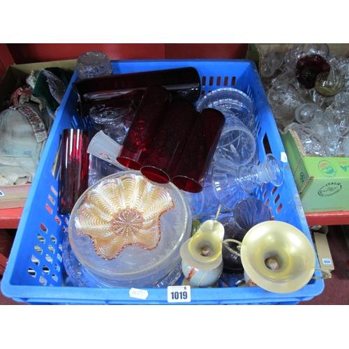 1019 - Glassware, jars, dishes, cruets, Queen Elizabeth Coronation bowl, drinking glasses, etc....