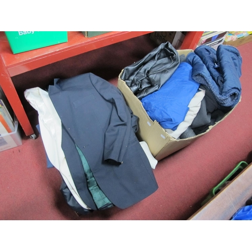 1032 - Gents Suits, Jackets, including evening suit, leather jacket, sports wear, shoes etc:- Two Boxes...