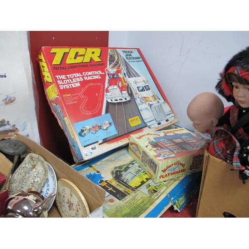 1037 - T.C.R Total Control Race Track and Cars, distressed box, also Dr X Adventure train set, distressed b...