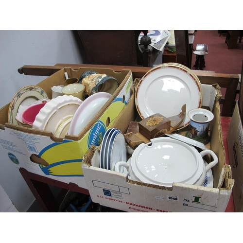1048 - Pottery, plates Royal Doulton, Italian tureen, Minton, Doulton character jug, flan dish, planter etc...