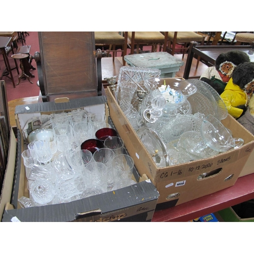 1050 - Two Boxes of Cut and Pressed Glassware, including ships decanter, candle holders, Caithness paperwei...