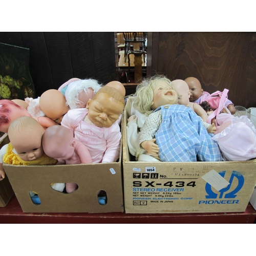 1054 - Dolls - A.D.G., Zapf Creations, Gotz, Brigitte Lnnam and many other dolls:- Two Boxes...