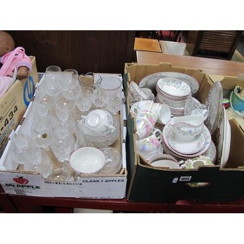 1055 - Johnson Dinner Ware, floral tea service, glassware:- Two Boxes...
