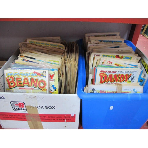 1058 - Comics - Beano, Dandy, Mickey, Disney Mirror, some free gifts noted:- Two Boxes...