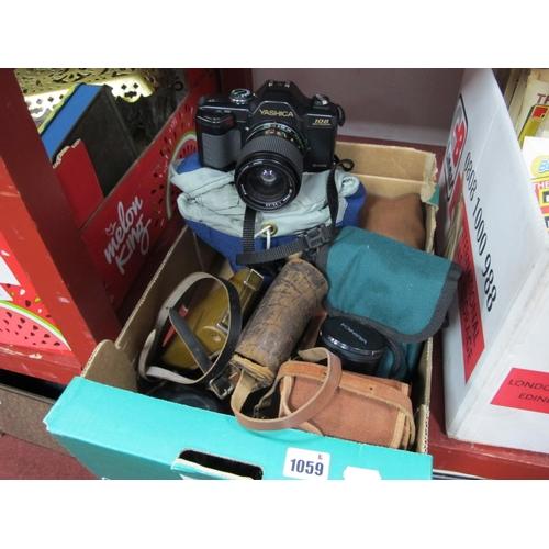 1059 - Cameras - Yashica 108 having 35-70mm lens, Halina, Kodak, Yashica 75.200mm lens....