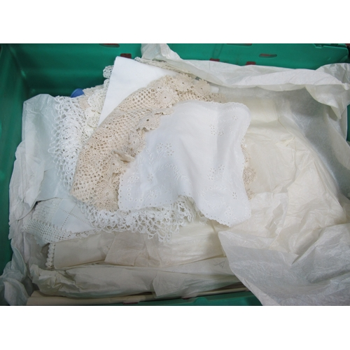 1025 - Linens, Crochet, Needlework, Damask, etc:- Two Boxes...
