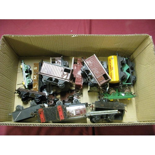 308 - Seventeen Mainly Post War 'O' Gauge Wagons, by Hornby and others, mainly original but all poor, play...