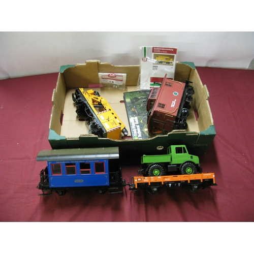 313 - Four Loose 'G' Scale LGB Four wheel Wagons and Coaches, including crane wagon, all unboxed....
