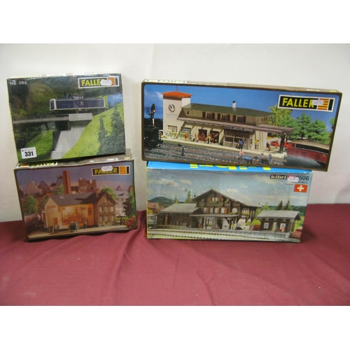 331 - Four HO Scale Lineside Buildings and Accessories Plastic Model Kits, by Faller, Kibri, including Fal...
