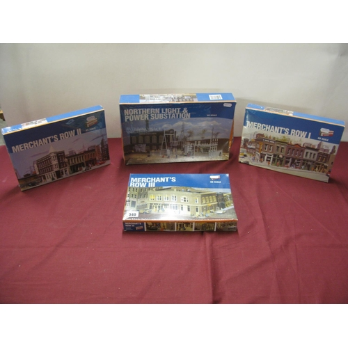 340 - Four HO Scale Plastic Model Building Kits, by Walthers, including Merchants Row I II III Northern Li...