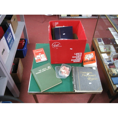 142 - A Large Box For Sorting,  includes ideal postage stamp albums (no stamps) in good condition, a Schau...