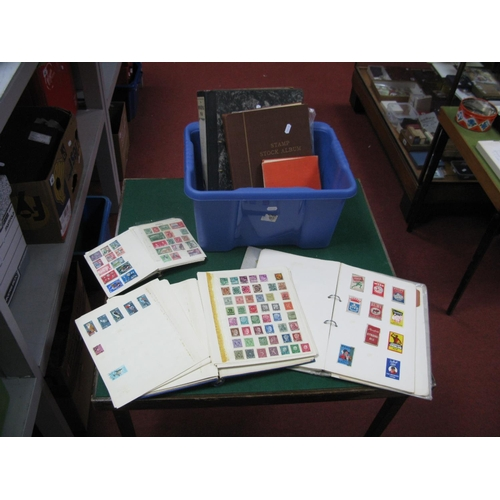 151 - A Box with Six Stamp Albums of World Stamps, mixed condition but some useful material, George VI val...
