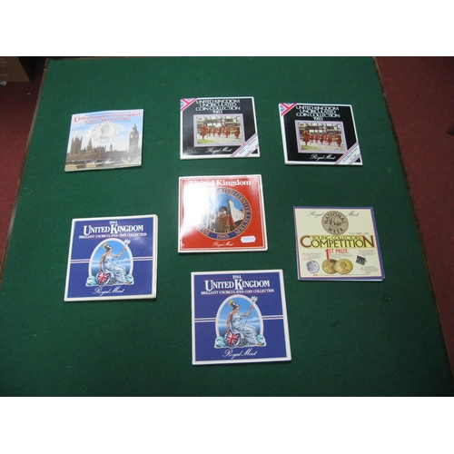 194 - Six Royal Mint United Kingdom BU Coin Sets, comprising of 1982, 1983 (2), 1984 (2), 1985....