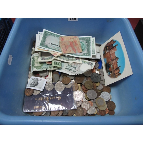 239 - A Collection of G.B. and Overseas Coins and Banknotes, many countries represented, sometimes redeema...
