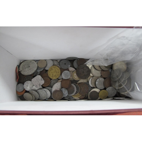 264 - A Quantity of Predominantly Overseas Coins Both BASE Metal and Silver, including Switzerland 2 franc...