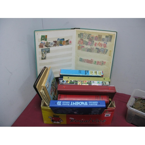 302 - A Carton of Junior Stamp Albums and Stockbooks, containing World mainly used stamps, sixteen items, ...
