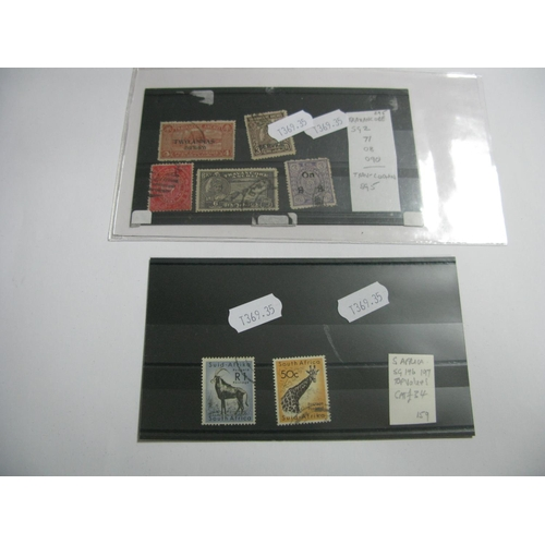 347 - A Small Selection of Stamps From Travancore, including SG 2 and 71 SG08 and 090. Plus Travancore-Coc...