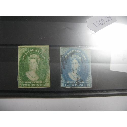 348 - Tasmania Queen Victoria Stamps, SG20 and 23, fine used, but poor margins, cat value £1100....
