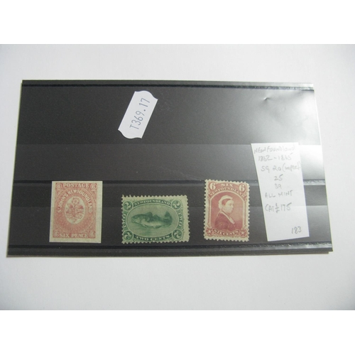 366 - Newfoundland 1862-65, SG 20 (Imperf) SG 25 and SG 39, all mint, cat £175....