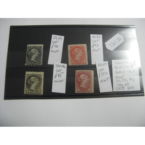 380 - Canada, A Selection of Queen Victoria Stamps, SG54, 82, 106 and 109, all mint, cat £600...