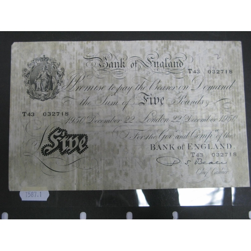 387 - Bank of England Five Pounds Banknote, (Chief Cashier - P.S. Beale) London, 22 December 1950, T43 032...