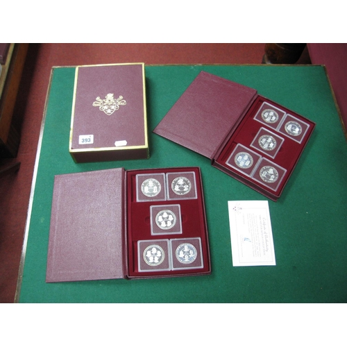 393 - The Caymen Islands Silver Kings Collection 1980, comprising of ten 25 dollars silver proof coins acc...