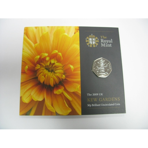 408 - The Royal Mint 2009 United Kingdom Kew Gardens Fifty Pence Brilliant Uncirculated Coin, in original ...
