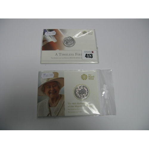 413 - Two Royal Mint United Kingdom Twenty Pound Fine Silver Coins, including 2013 The George and The Drag...
