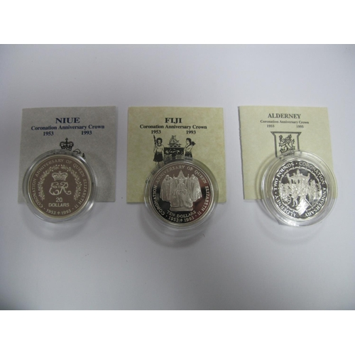 419 - Three Silver Proof Commemorative Crown Sized Coins all Coronation Anniversary Crowns 1993, to includ...