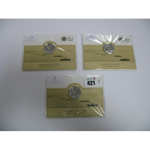 421 - Three The Royal Mint Outbreak 2014 UK £20 Fine Silver Coins....