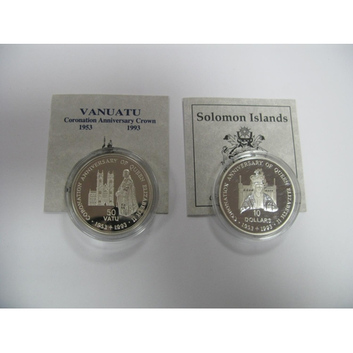 422 - Two Silver Proof Commemorative Coins both Queen Elizabeth II 40th Anniversary of The Coronation, Van...