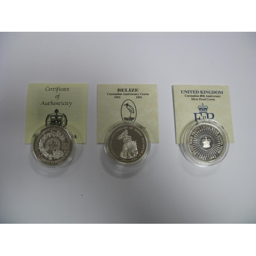 423 - Three Silver Proof Commemorative Crown Sized Coins all Coronation Anniversary Crowns 1993, to includ...