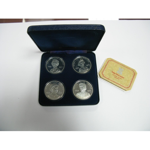 428 - A Pobjoy Mint Set of Four Silver Royal Salute 1977 Crown Medals Commemorating The Silver Jubilee of ...