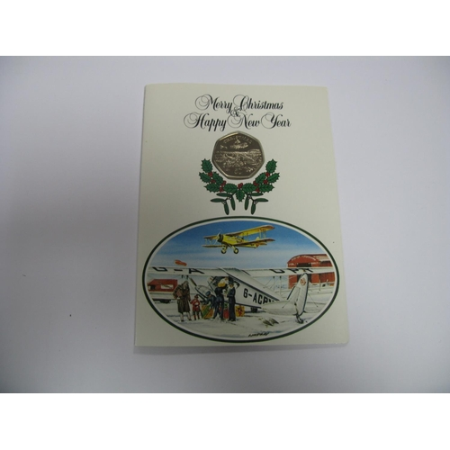 432 - Pobjoy Mint Isle of Man Christmas Fifty Pence Coin 1985, carded - no envelope....