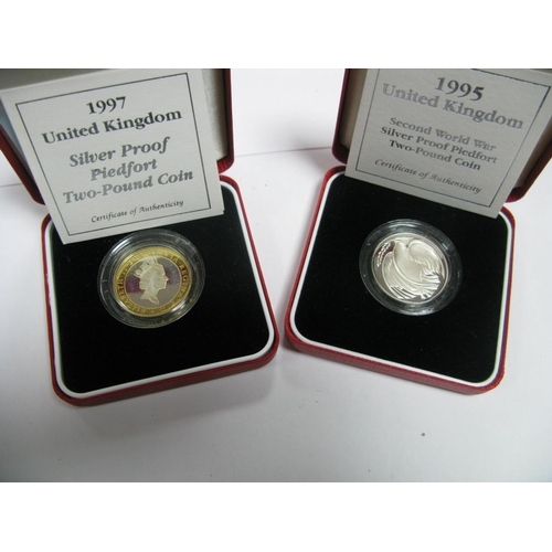446 - Two Royal Mint United Kingdom Silver Proof Piedfort Two Pound Coins, 1995, 1997, accompanied by lite...